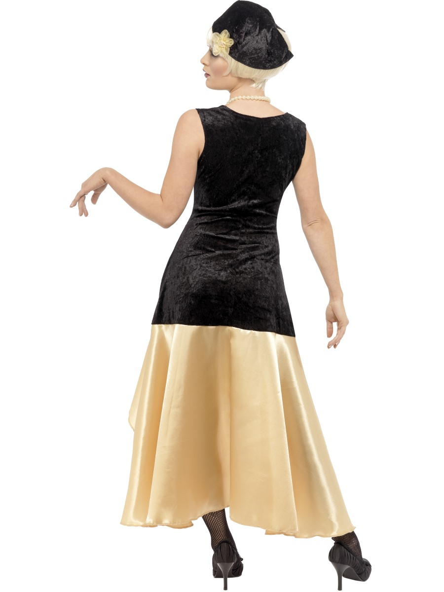 20s Gatsby Girl Costume, Black and Gold