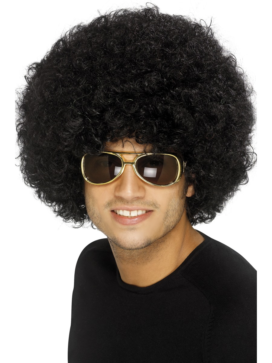 70's Funky Afro Wig Black