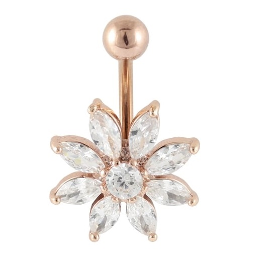 Rose Gold Sunflower Belly Bar
