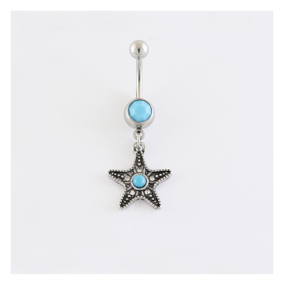 Dangly Star Belly Bar Set with Turquoise