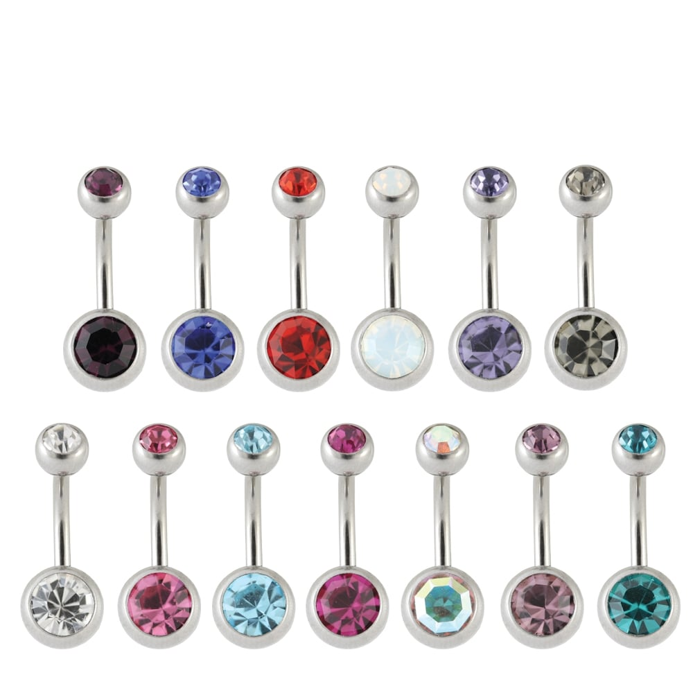 Steel Double Jewelled Belly Bar