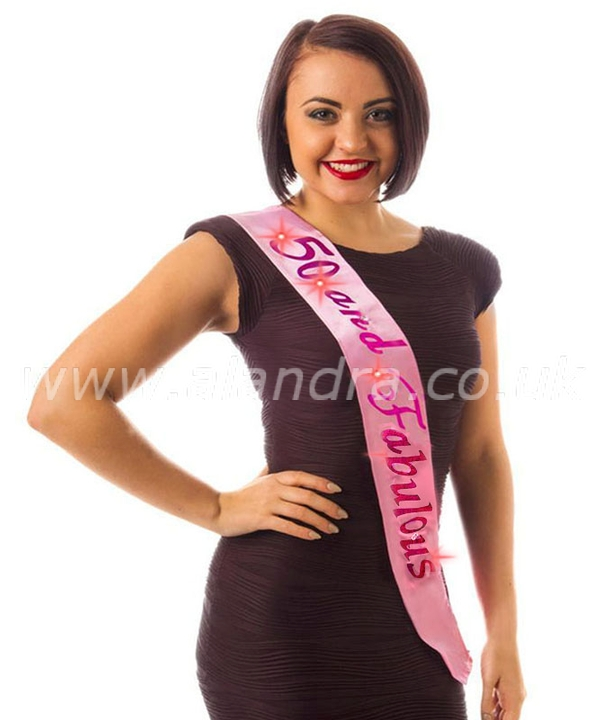 Flashing 50 and Fabulous Pink Birthday Sash