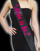 Black Bride to Be Sash with Hot Pink Foil