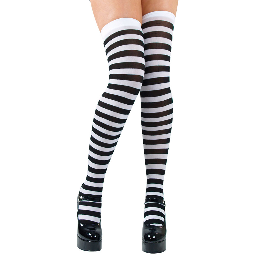 Thigh Highs - Black & White Candystripe