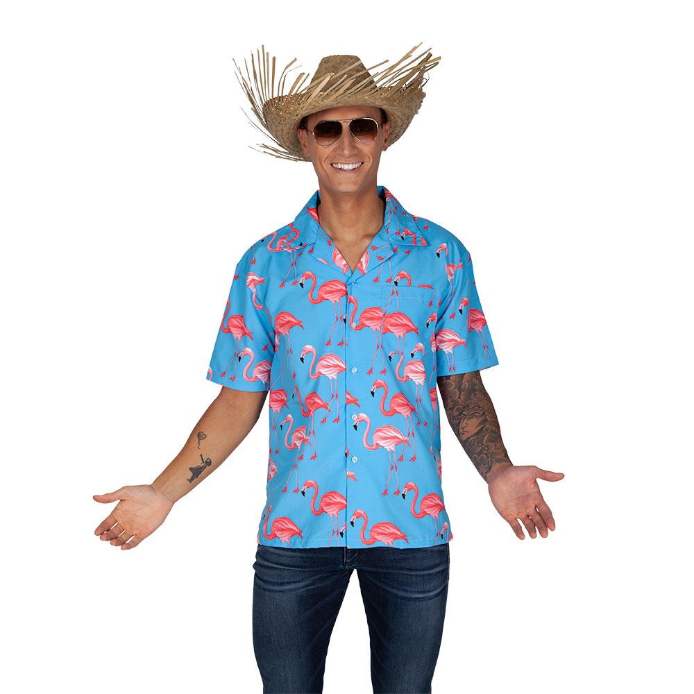 Hawaiian Shirt- Pink Flamingo