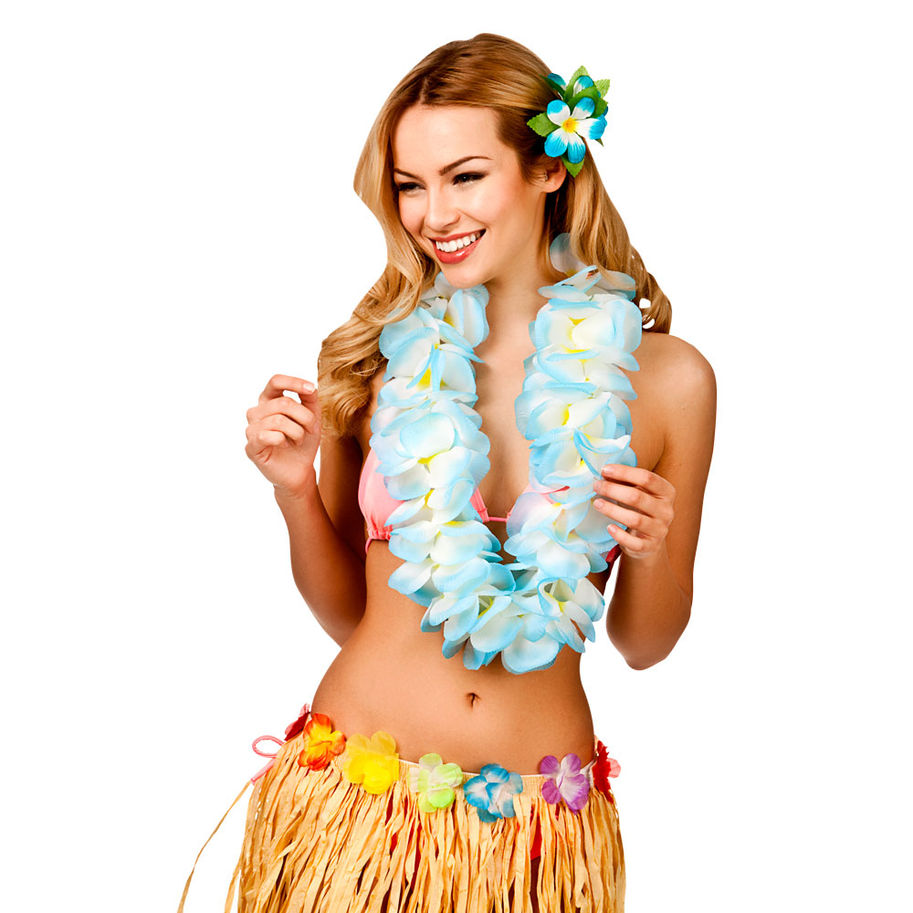 Hawaiian Lei-Large 2 tone Sky blue