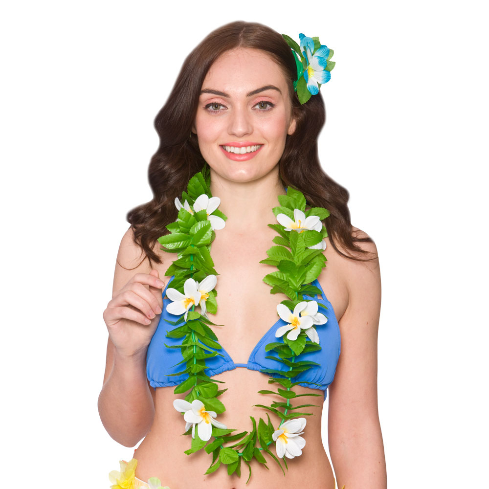 Hawaiian Lei- Green with White Flowers