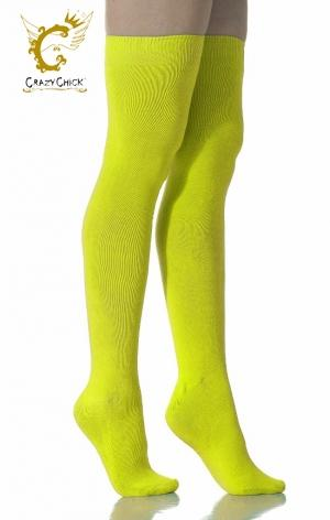 Neon Yellow Over The Knee Socks