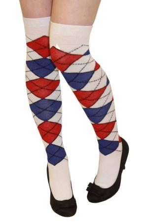 Red/Wh/Blue Over Knee Argyle Socks