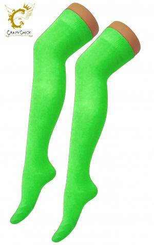 Neon Green Over The Knee Socks