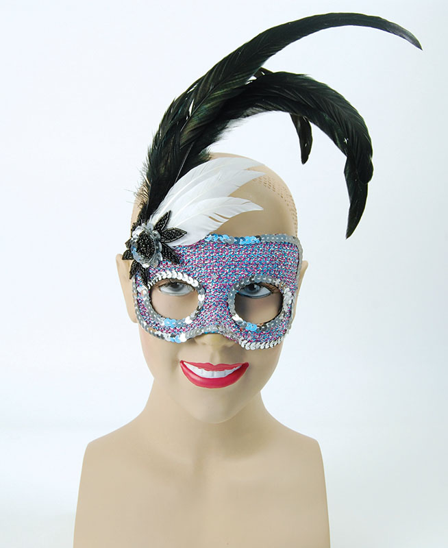 Black/Purple Face mask + Silver Sequins