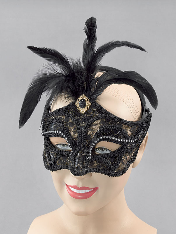 Black Mask + Tall Feathers On Headband