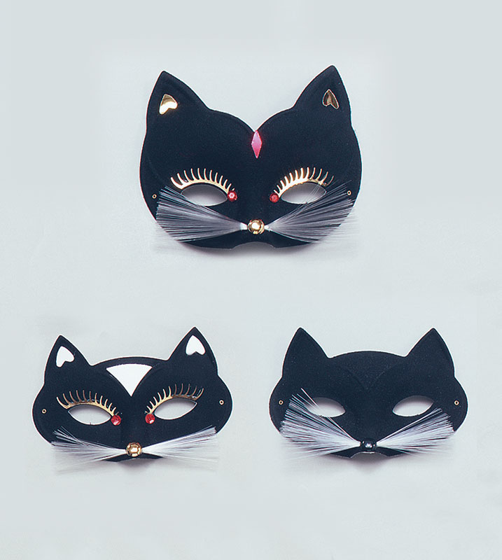 Cat Domino Eye Mask. Black