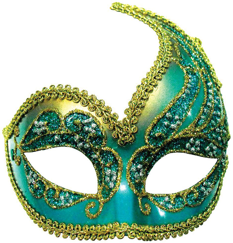 Decorative Half Mask Turquoise Gold Masquerade Masks Em404