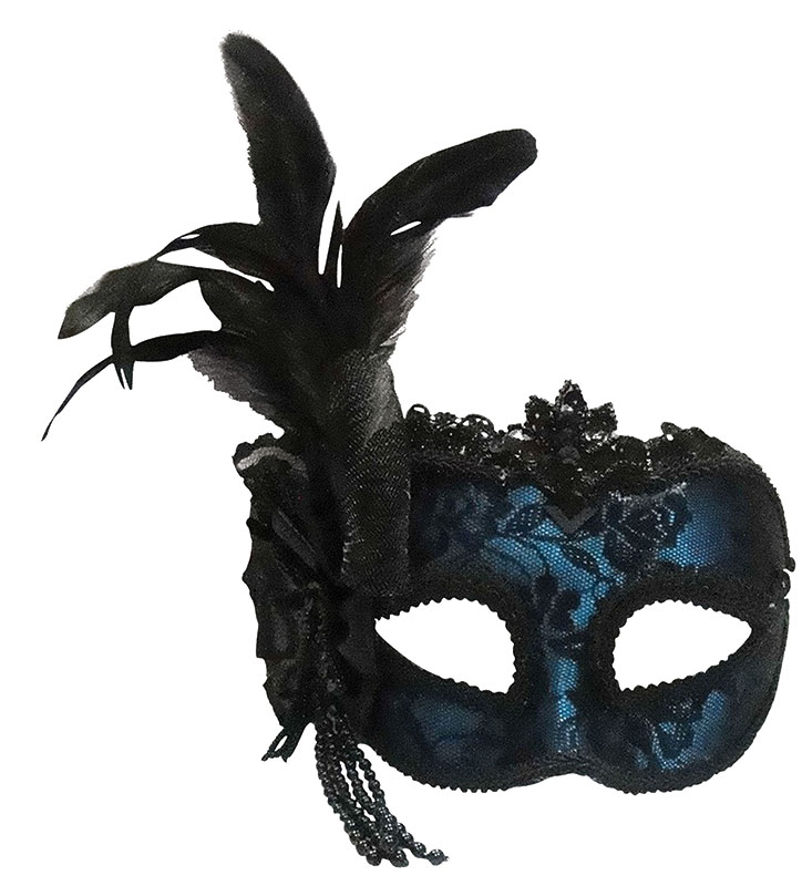Blue side feather mask