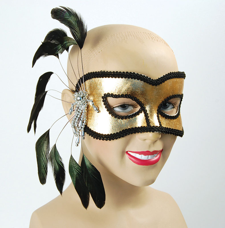 Lt Gold Mask+Black Feathers