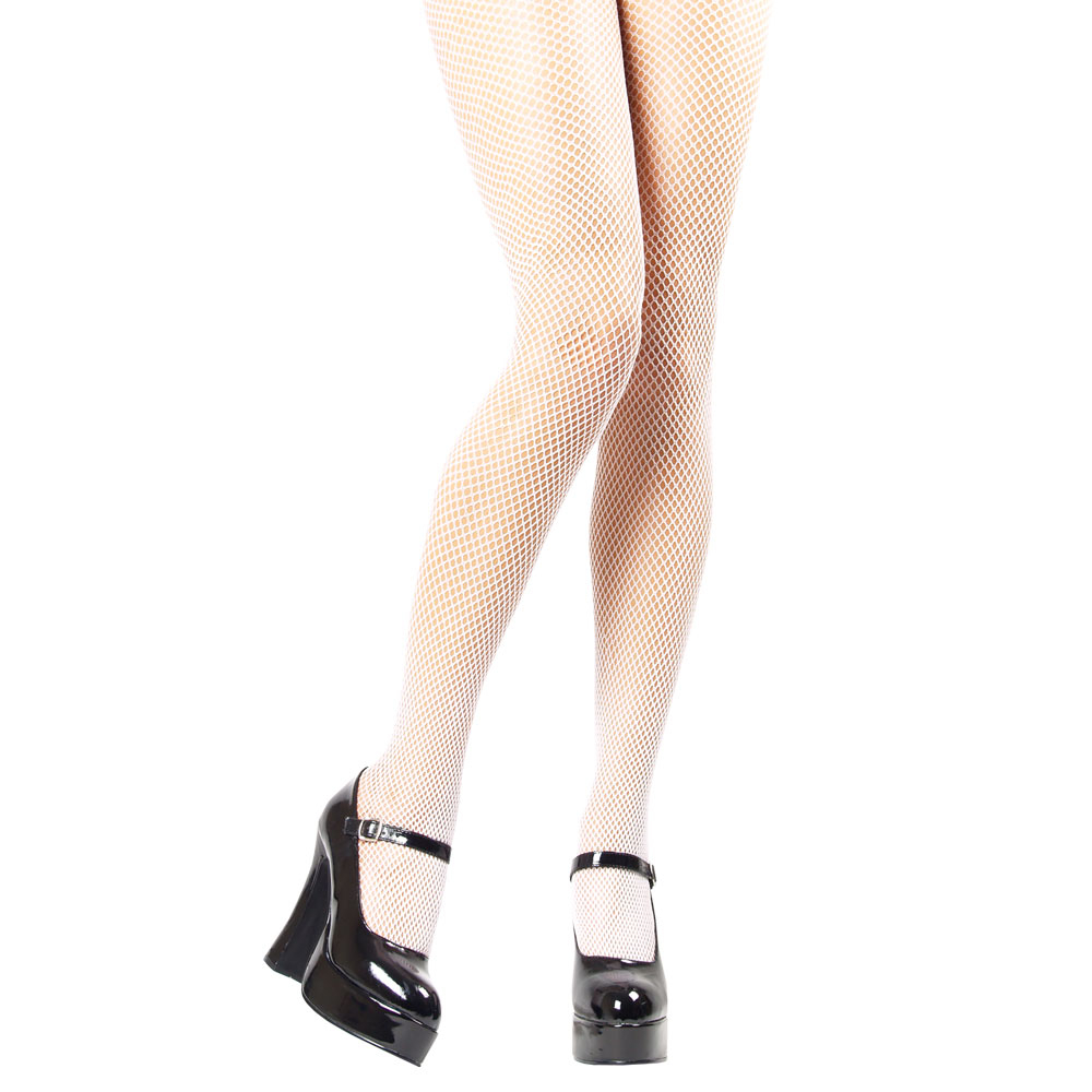 Tights-White Fishnet