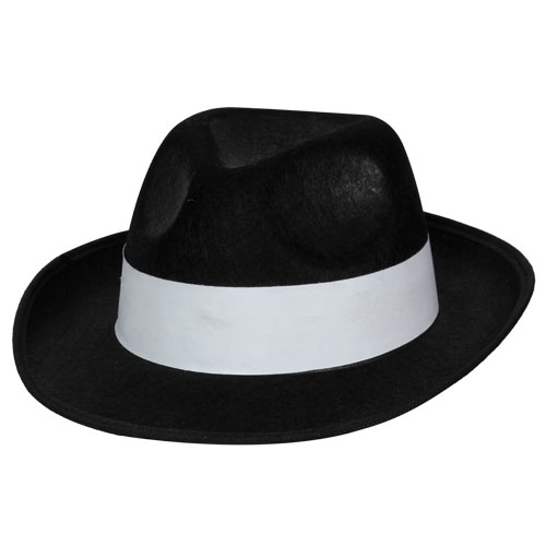 BlackFelt Gangster Hat/with white band