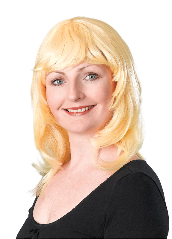 Blonde layered female wig